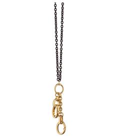 Monica Rich Monica Rich Kosann 18K yellow gold 'design your own' charm enhancers (2) on an 18-inch black steel cable chain.