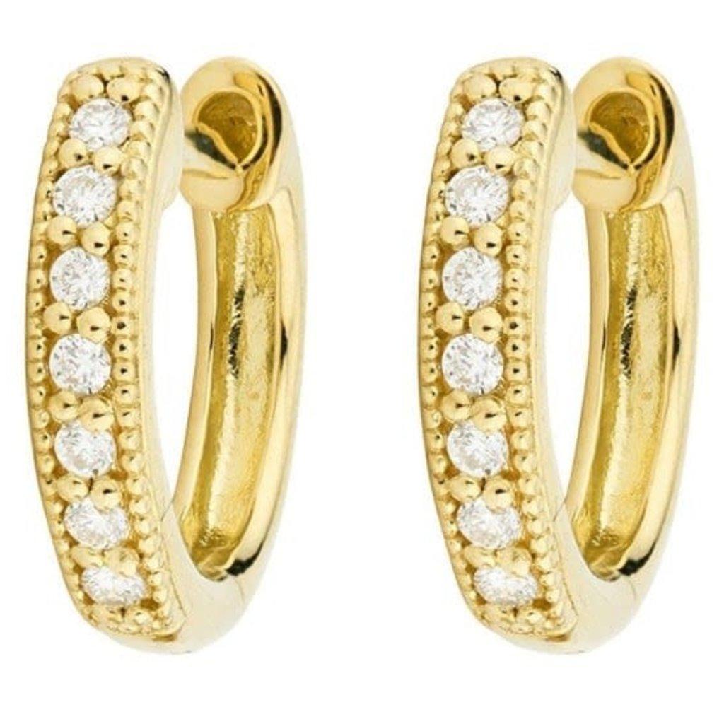 Jude Frances Diamond Huggie Hoop Earrings Yellow Gold