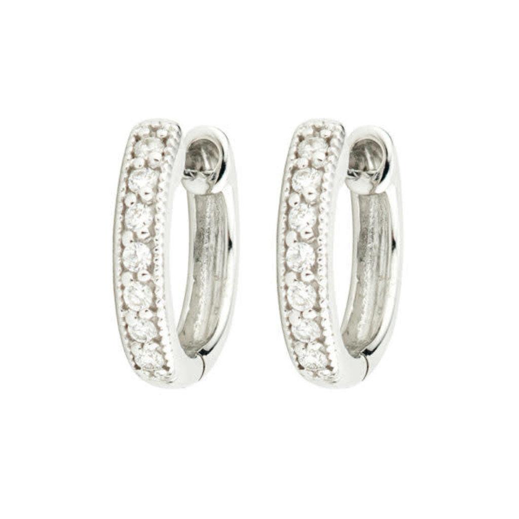 Jude Frances Diamond Huggie Hoop Earrings White Gold