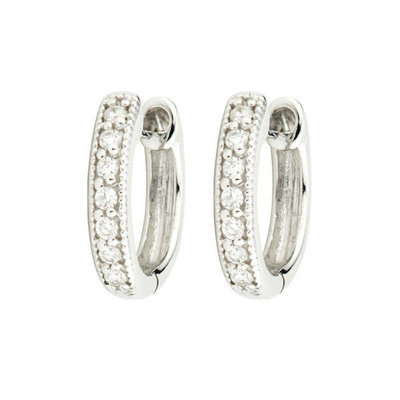 Jude Frances Diamond Huggie Hoop Earrings White Gold