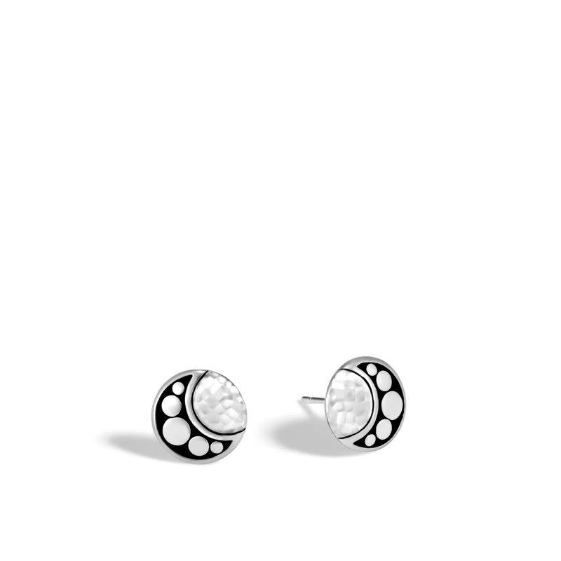 John Hardy Dot Moon Phase Hammered Stud Earring