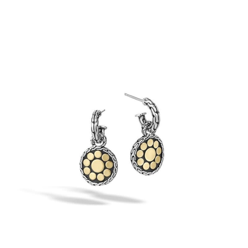 John Hardy Dot Small Round Hoop Drop Earring in Silver and 18K Gold