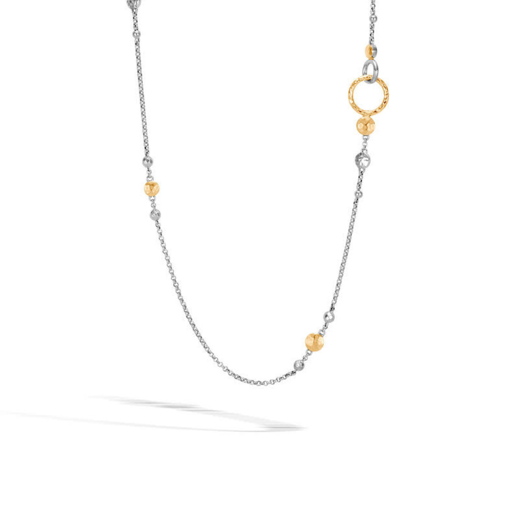 John Hardy Dot Station Hammered Necklace in Silver and 18K Gold