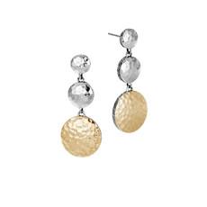 John Hardy Dot Triple Drop Earrings in Hammered Silver and 18K Gold
