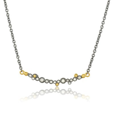 Lika Behar Collection Gold & Oxidized Silver Bar Necklace With Diamonds