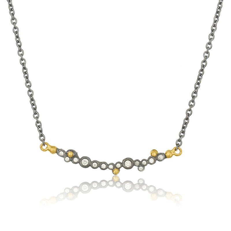 Lika Behar Collection Gold & Oxidized Silver Bar Necklace With Diamonds