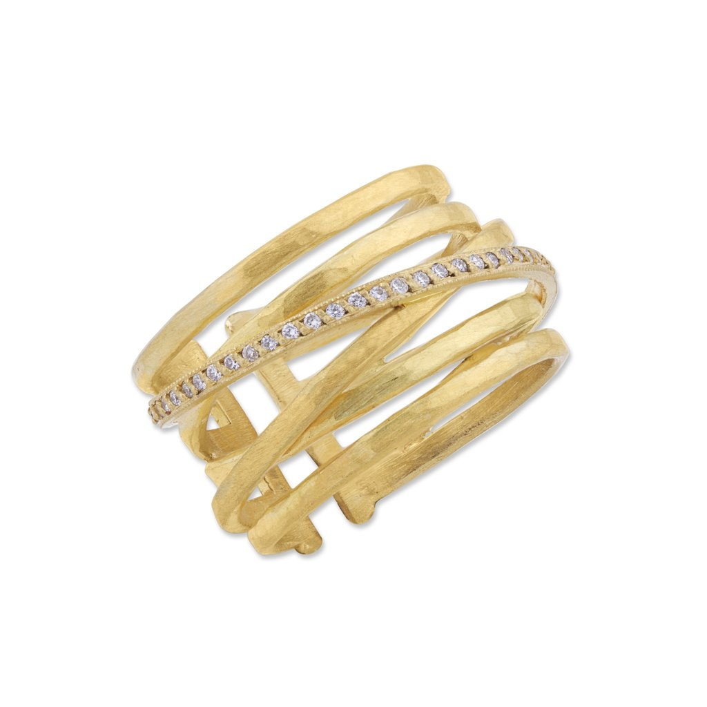 Lika Behar Collection Gold Crosswire Diamond Open Back Ring