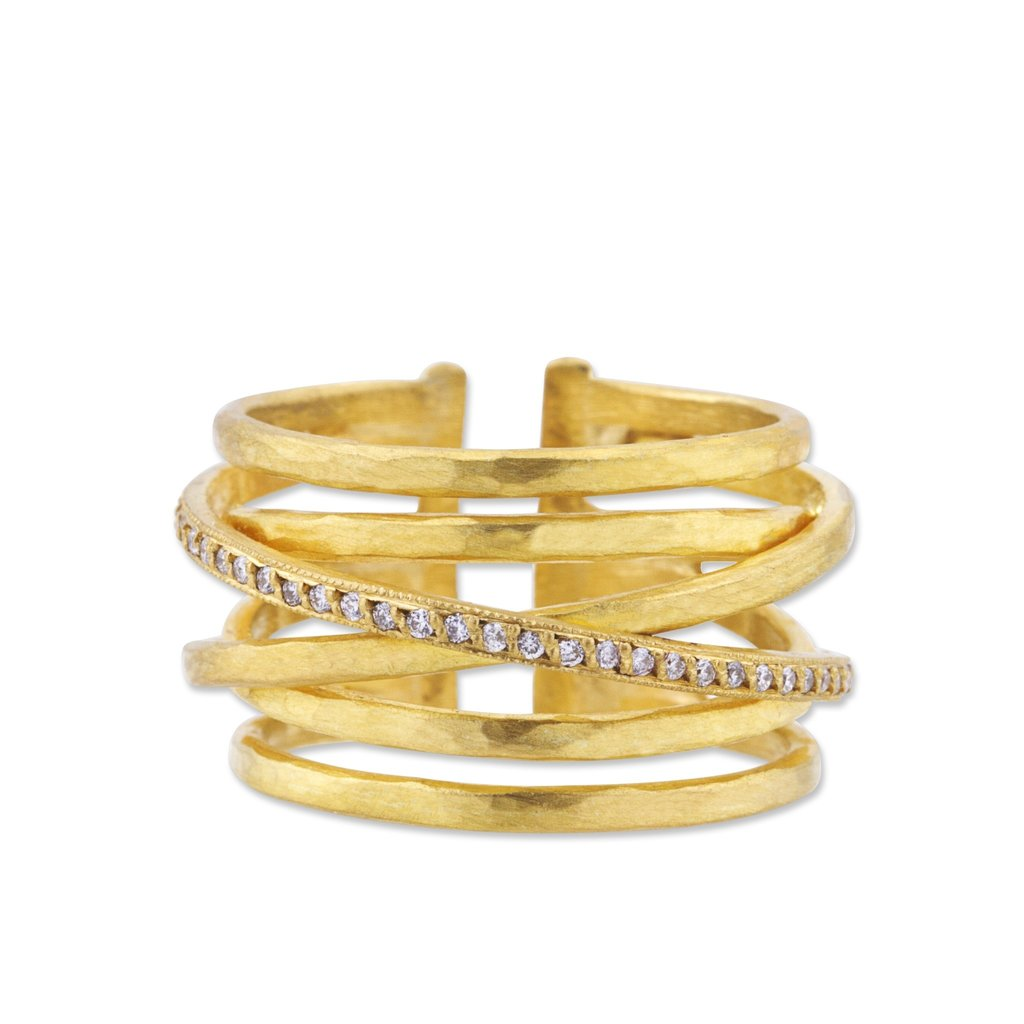 Lika Behar Collection Gold Crosswire Diamond Open Back Ring