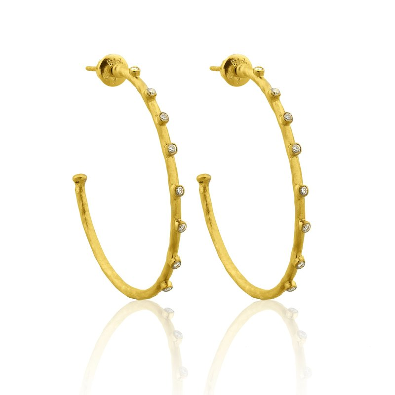 Lika Behar Collection Gold Diamond Hoop Earrings