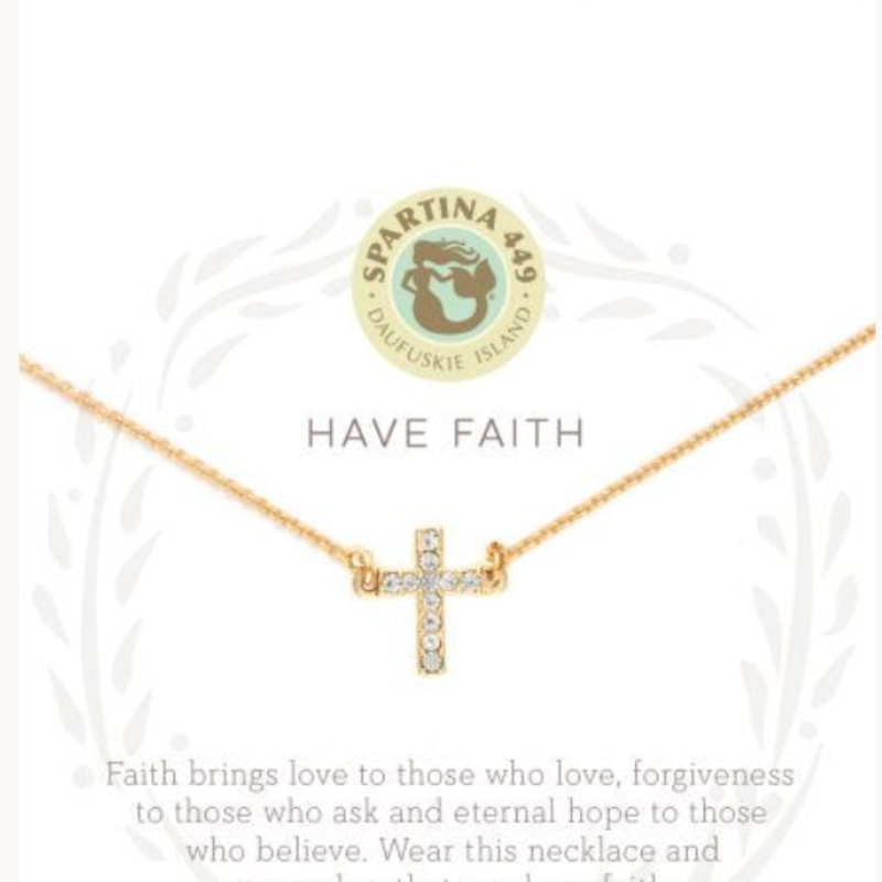 "Spartina 18"" Sea La Vie Have Faith Cross Gold"