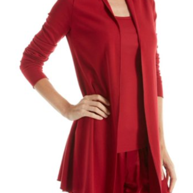 PJ Harlow Amelia Rib Knit Long-Sleeve Marrow Edge Trim Cardigan