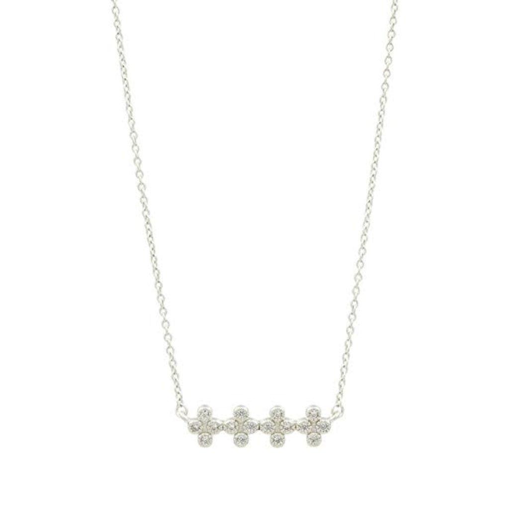 Freida Rothman Clover Bar Pendant Necklace Silver