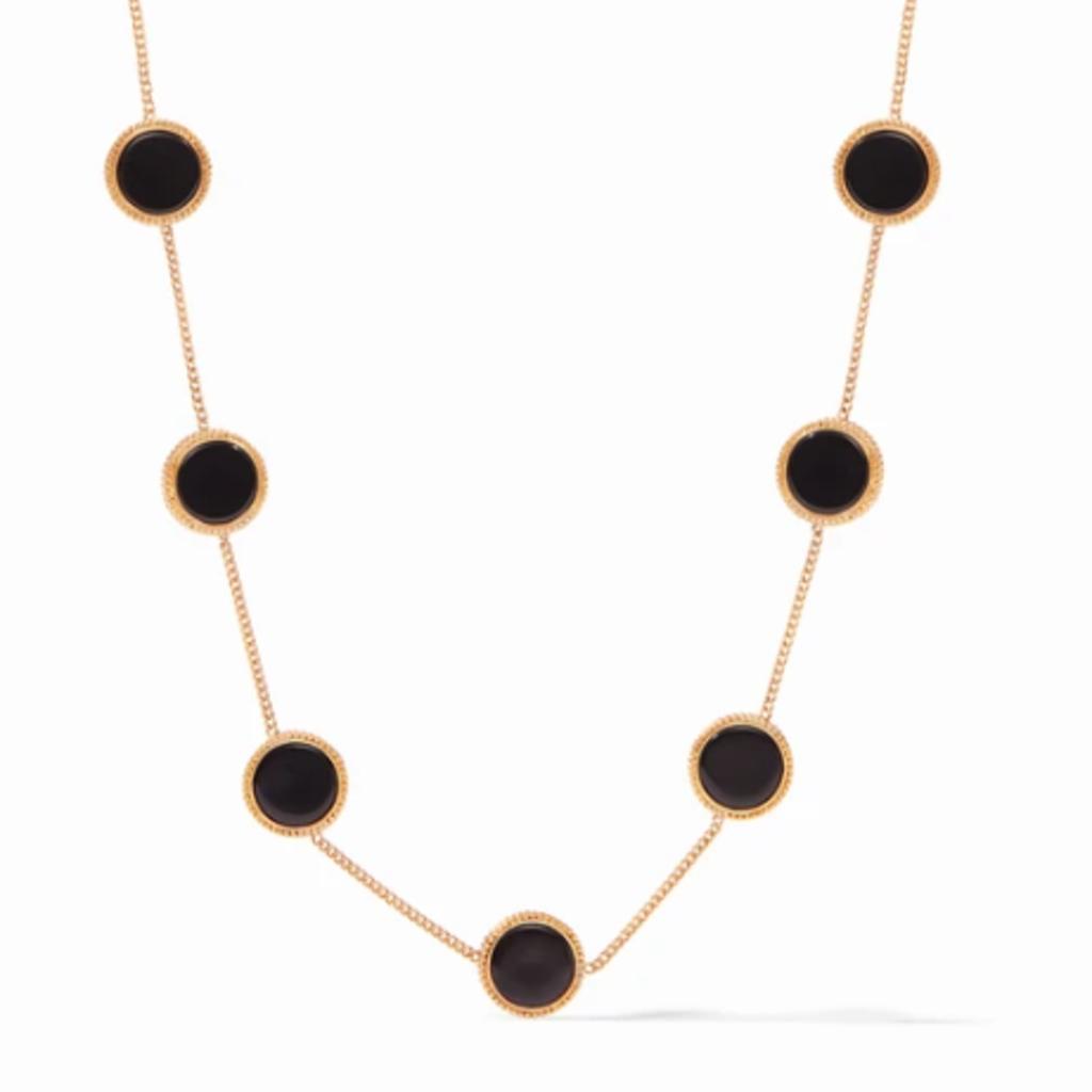 Julie Vos Coin Demi Station Necklace in Black Onyx
