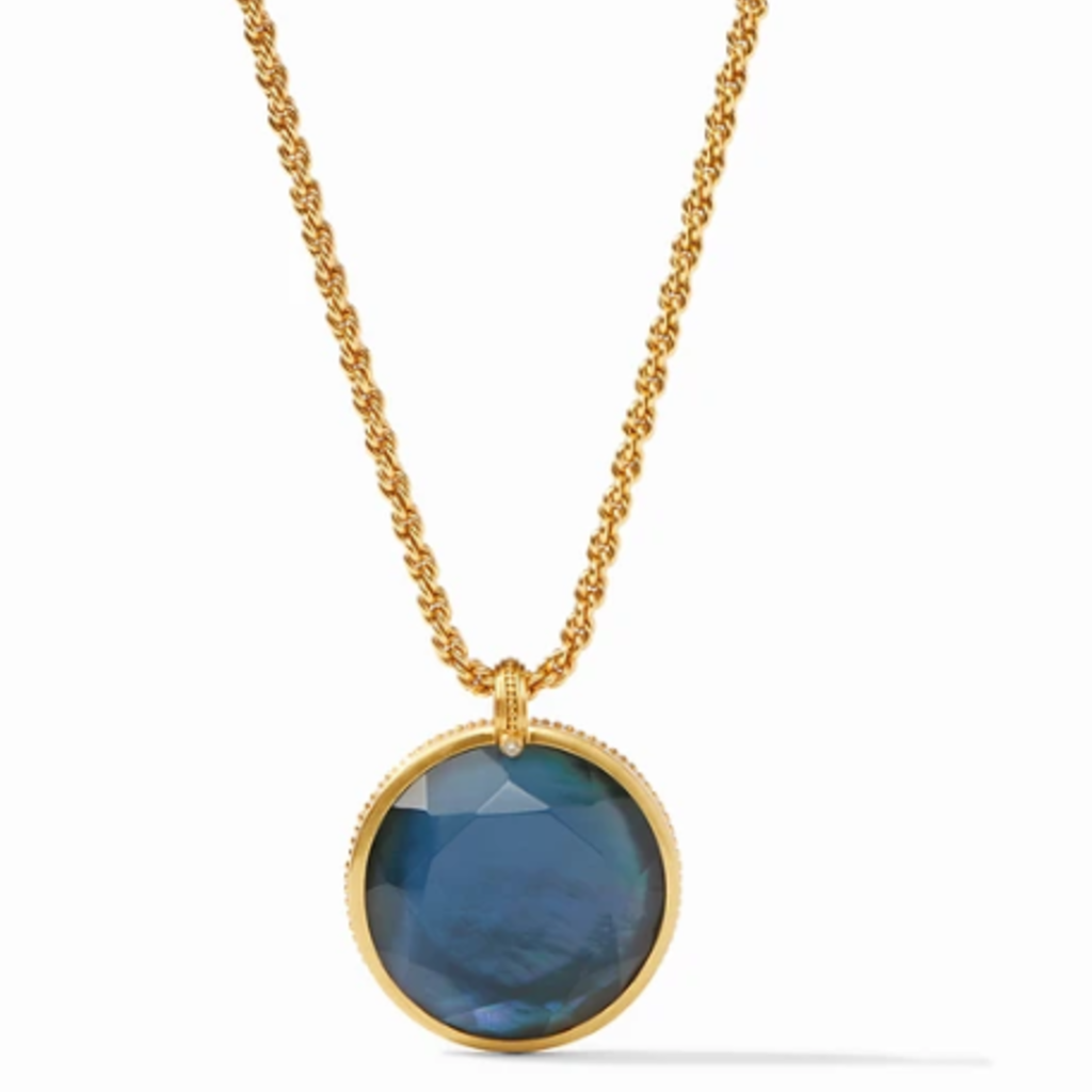 Julie Vos Coin Statement Pendant Necklace in Azure Blue