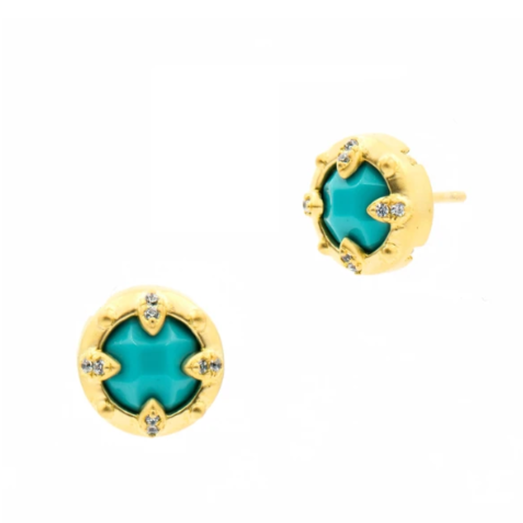 Freida Rothman Fleur Bloom Empire Turquoise Stud Earring