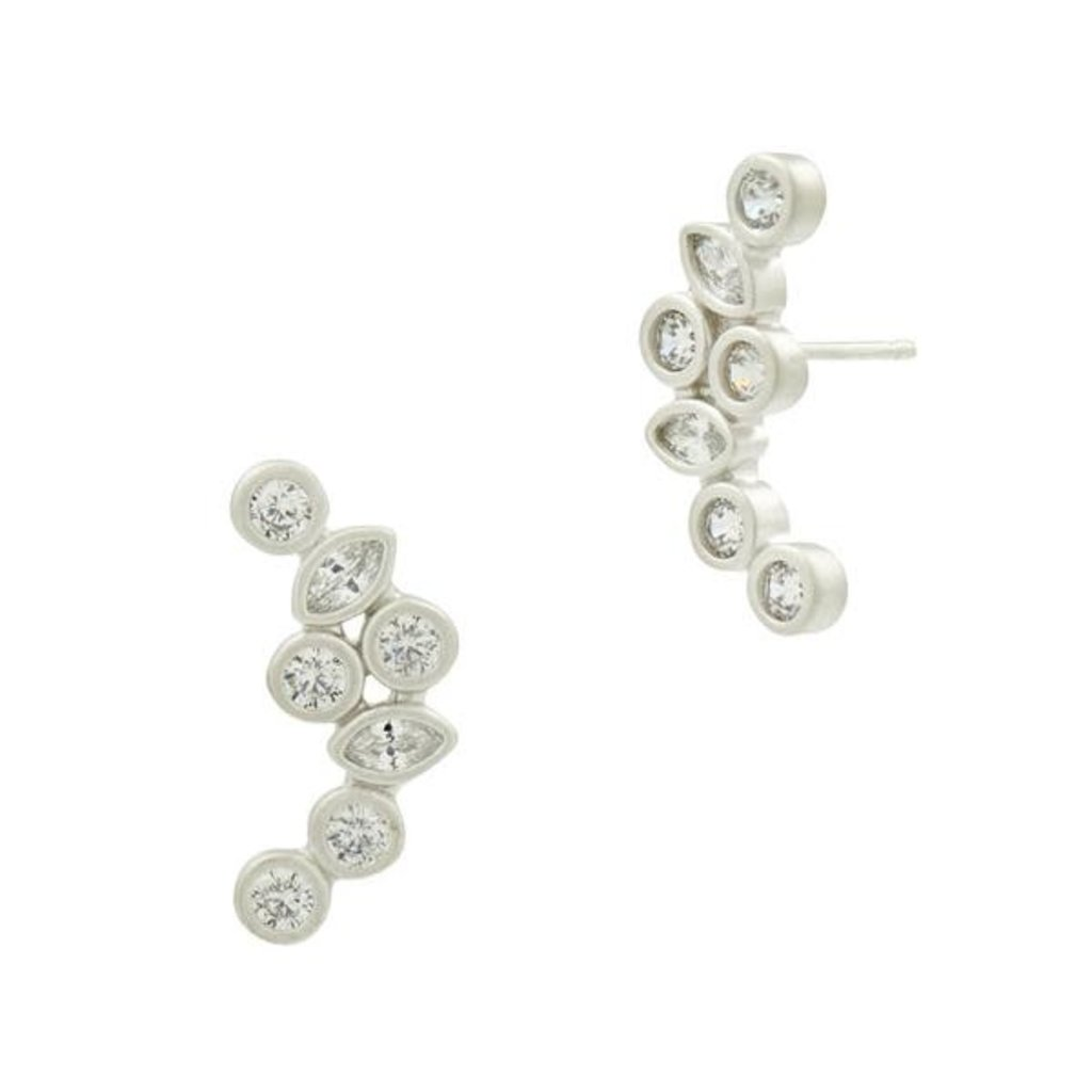 Freida Rothman Geo Stone Radiance Climber Earrings Silver