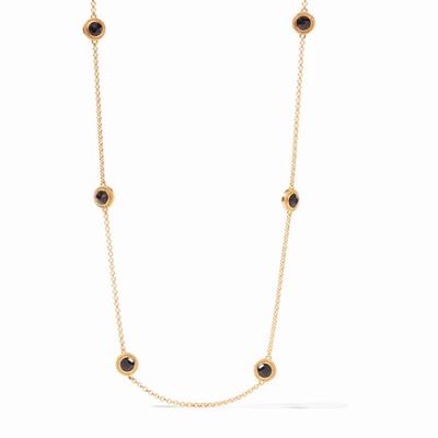 Julie Vos Gold Station Necklace in Azure Blue