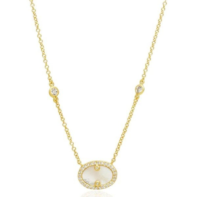 Freida Rothman Hint of Sparkle Pendant Necklace Mother of Pearl Gold
