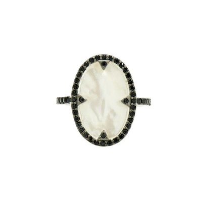 Freida Rothman Industrial Finish Mother of Pearl and Pave Cocktail Ring