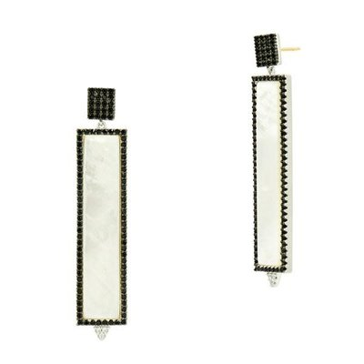 Freida Rothman Industrial Finish Mother Of Pearl Rectangle Earrings