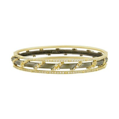 Freida Rothman Midnight Pave Roped 3 Stack Bangles