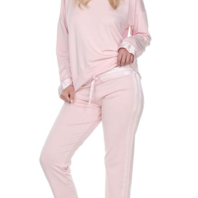 PJ Harlow Blythe French Terry Satin Waist & Trim Sweat Pant