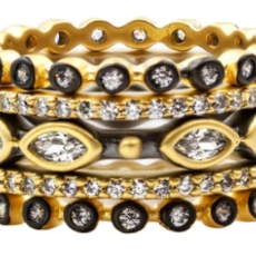 Freida Rothman S7 Signature Marquise Station 5 Stack Rings Gold Mixed Metal