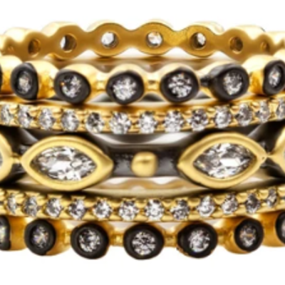 Freida Rothman S7 Signature Marquise Station 5 Stack Rings