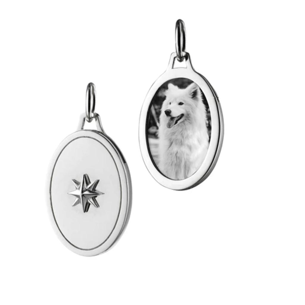 Monica Rich Oval Star Half Locket Silver