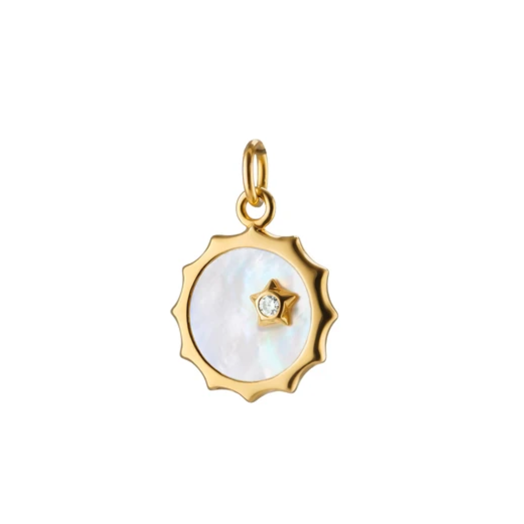 Monica Rich Mother of Pearl Sun and Star Charm