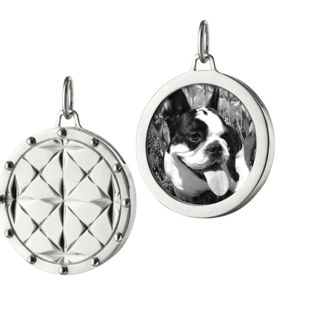 Monica Rich Round Mosaic Locket In Sterling Silver