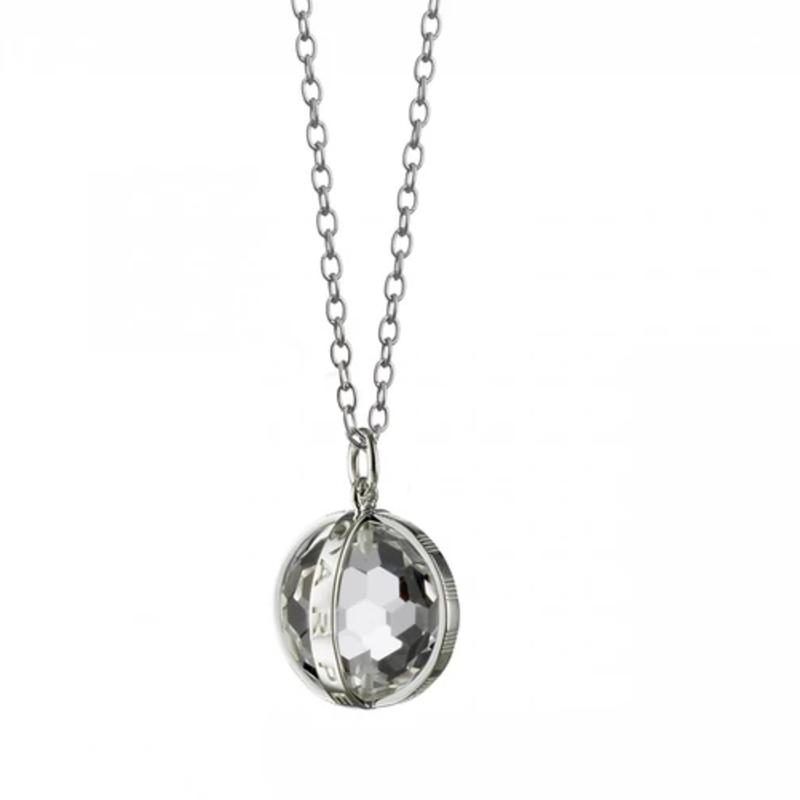 "Monica Rich Silver Carpe Diem Crystal Necklace 30"""