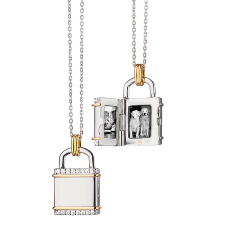 Monica Rich Two-Toned Small Lock Locket Necklace