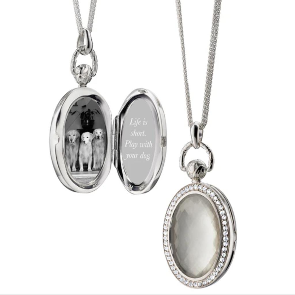 Monica Rich Oval Pocket Watch Locket Necklace
