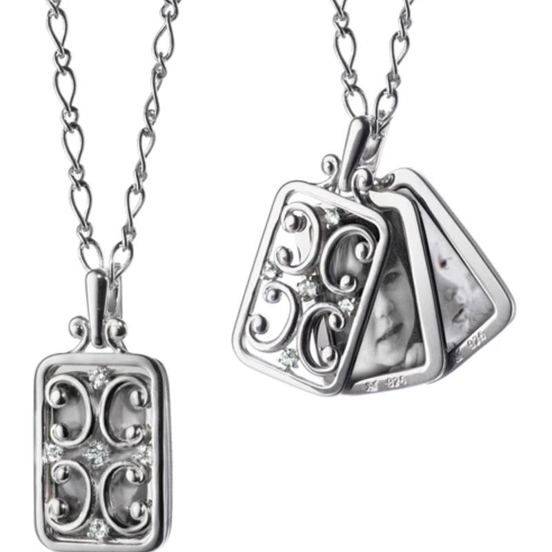 Monica Rich Rectangular Gate Locket With Sapphires Necklace