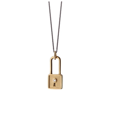 Monica Rich Square Lock Charm Necklace