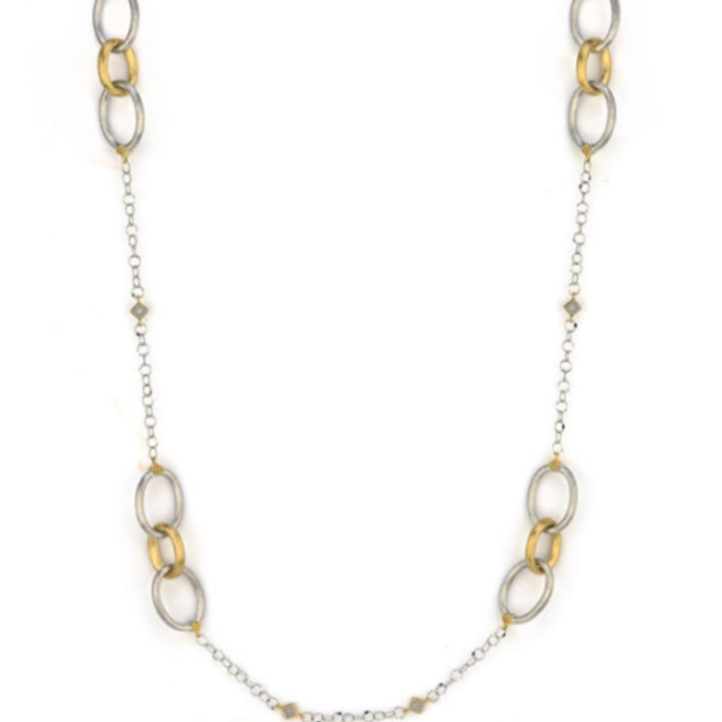 Jude Frances Mixed Metal Long Loopy Chain With Alternating Kites