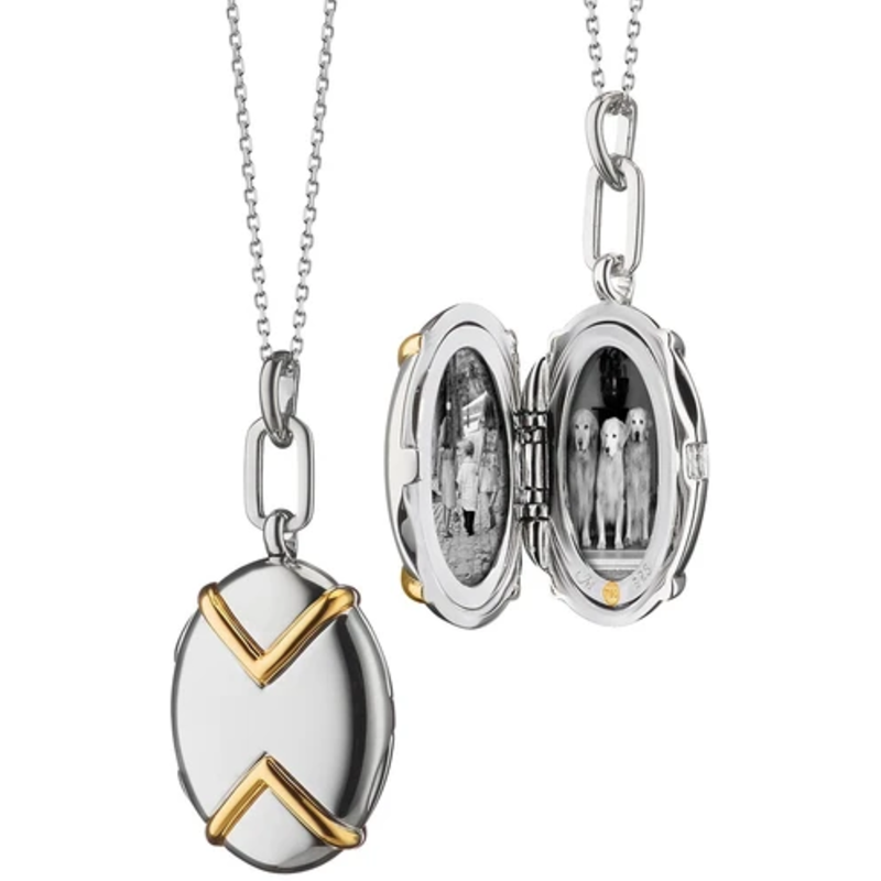 Monica Rich Oval Two-Tone Locket With Chevron Detail Necklace