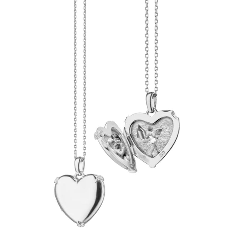 Monica Rich White Sapphire Heart Locket Necklace