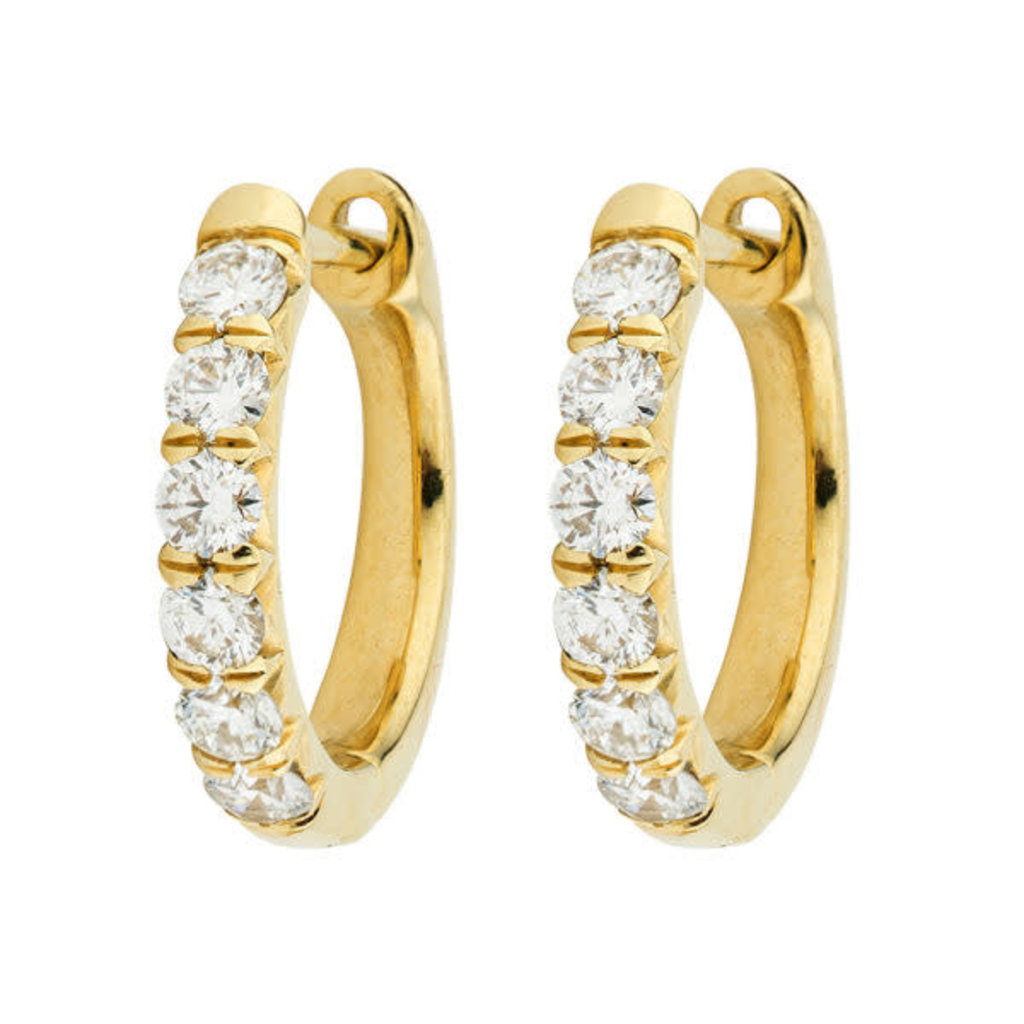 Jude Frances Jude Diamond Pave Hoop Earrings Yellow Gold