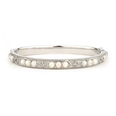 Jude Frances Silver Pearl Lisse Bangle