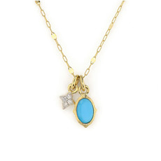 Jude Frances Tiny Moroccan Oval Stone & Quad Pendant