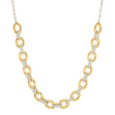 Jude Frances Mixed Metal Small Loopy Chain With Beaded Quad Links