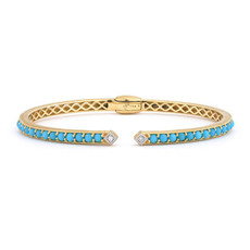 Jude Frances Lisse Round Turqouse Open Stretchy Bangle With Simple Diamond Accents