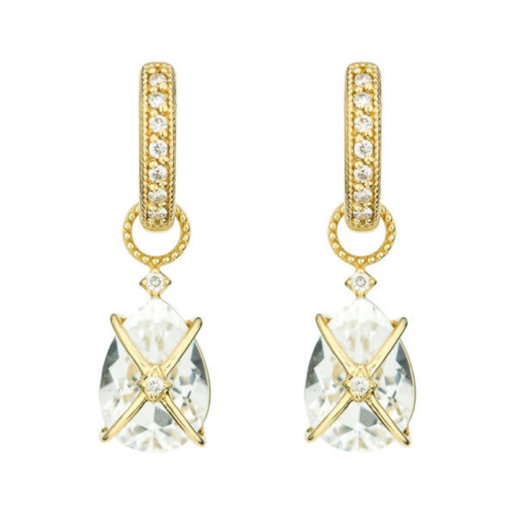 Jude Frances Tiny Criss Cross Wrapped Pear White Topaz Earring Charms