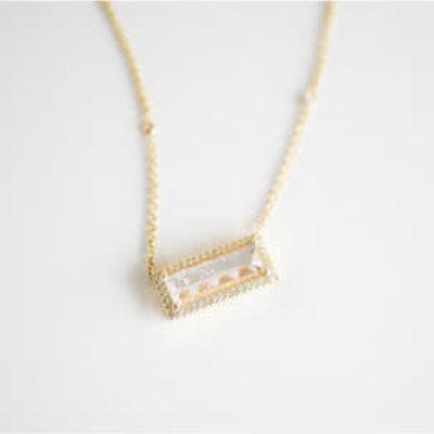 Lauren K Rainbow Moonstone Bar Necklace