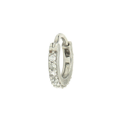 Jude Frances Petite Pave Diamond Hoop White Gold