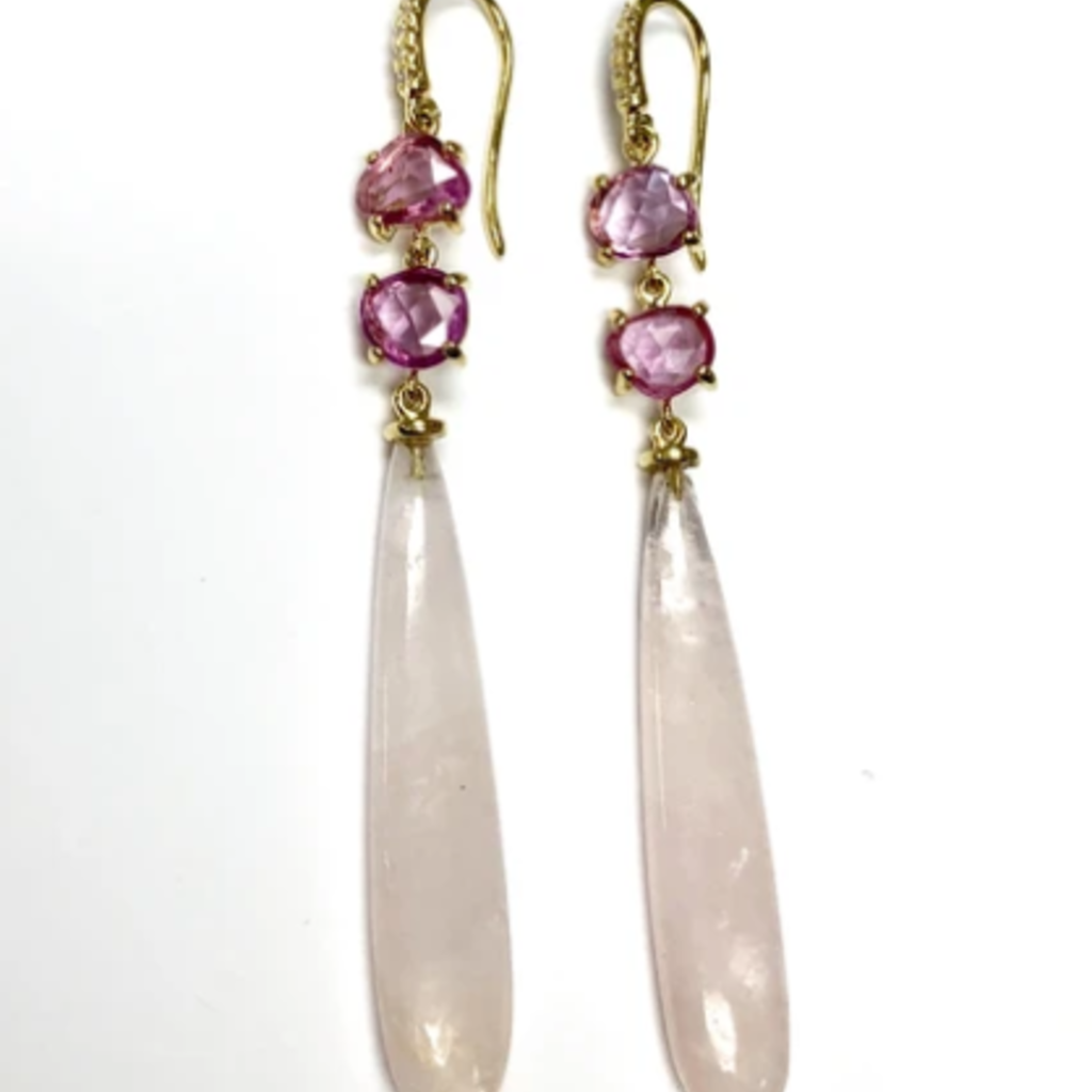 Lauren K Sapphire and Morganite Earrings