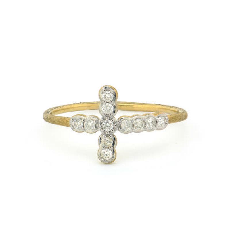Jude Frances Petite Bezel Diamond Cross Ring Yellow Gold