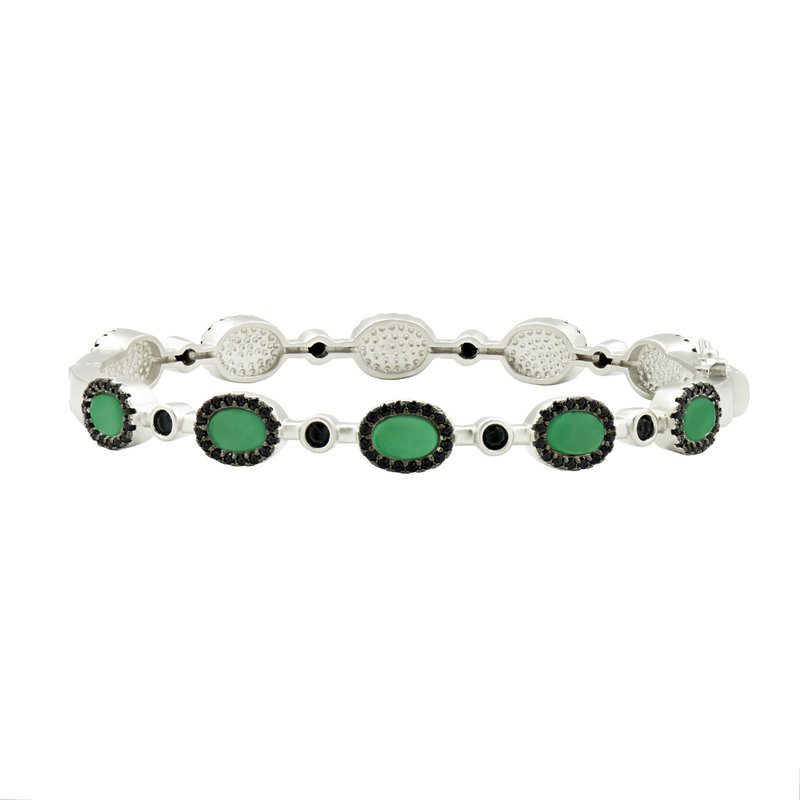 Freida Rothman Industrial Finish Hinge Bangle Green Agate